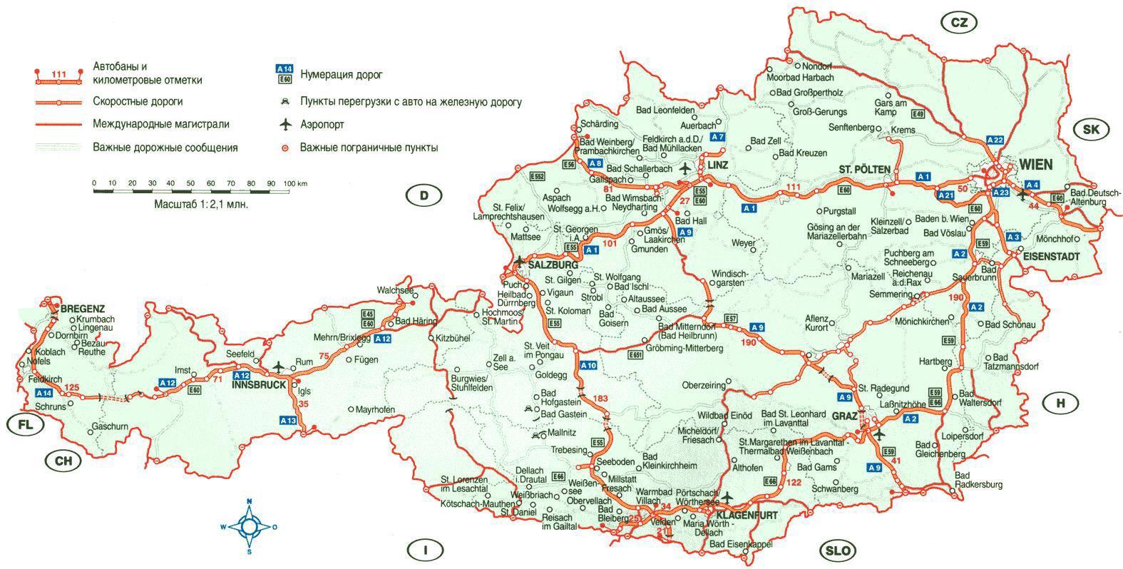 Avstriya Ptna Karta Podrobna Karta Na Avstriya Zapadna Evropa